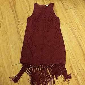Lush burgundy lace tassel flapper dress s nwt